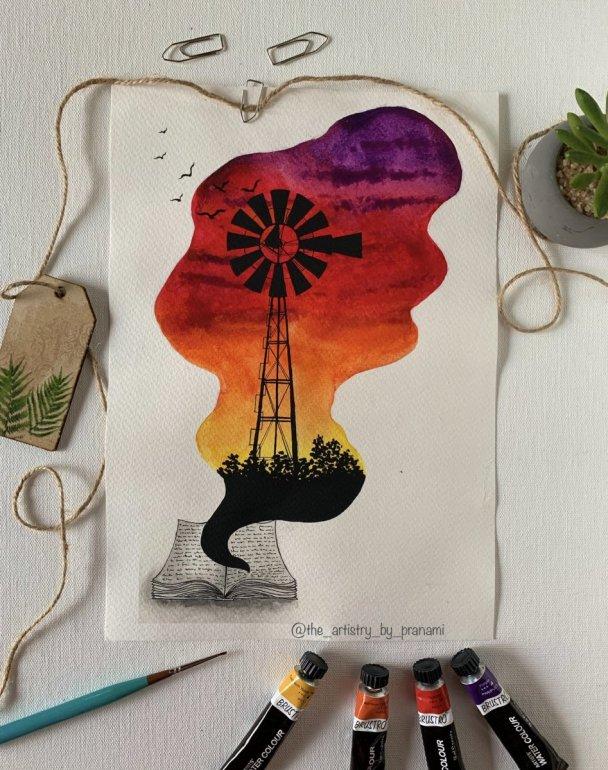 Windmill sunset watercolour painting