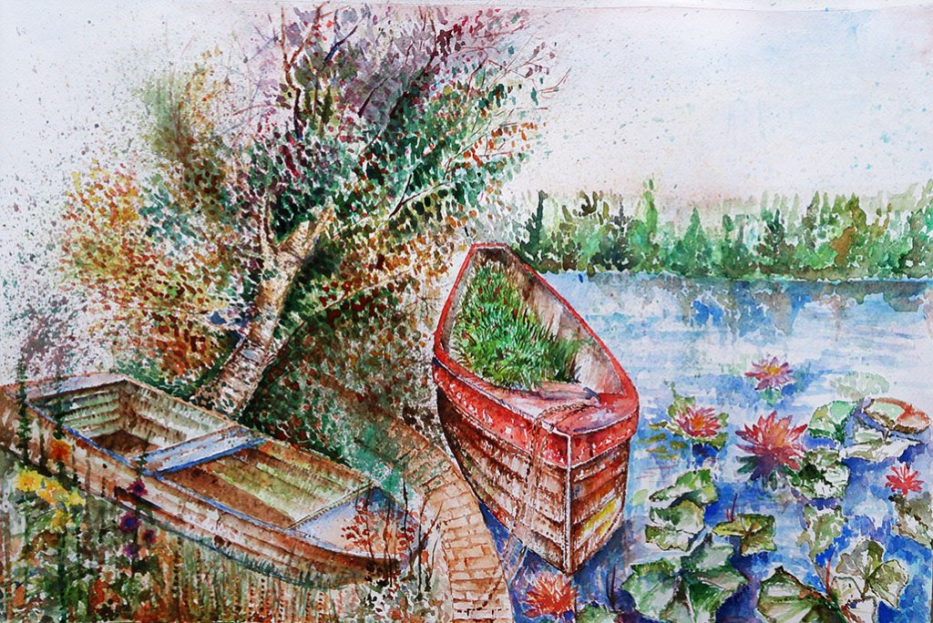 boats and pond Watercolor Painting by Seyedeh Ayeh Mirrezaei