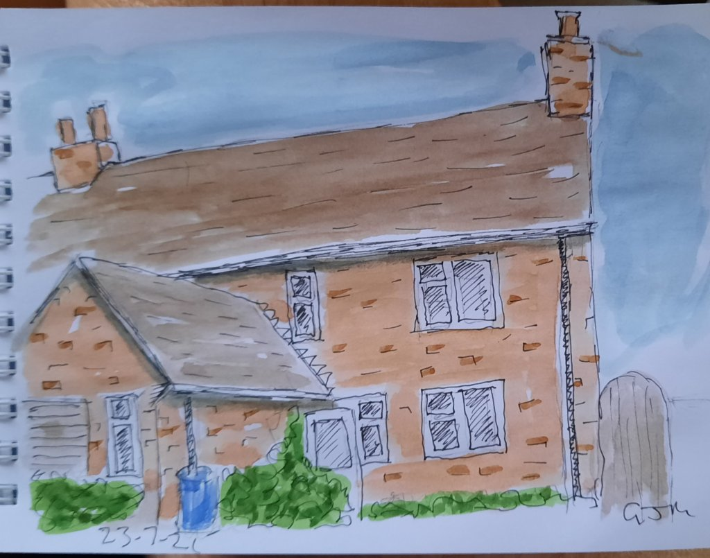 Our house. #doodlewashjuly2021 Day 23 Home #worldwatercolormonth #worldwatercolorgroup #lineandwash