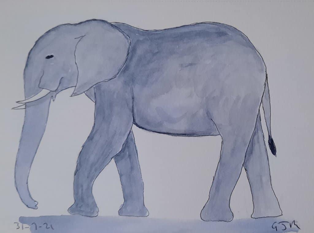 #doodlewashaugust2021 Day 1 Elephant. #worldwatercolorgroup 20210731_211008