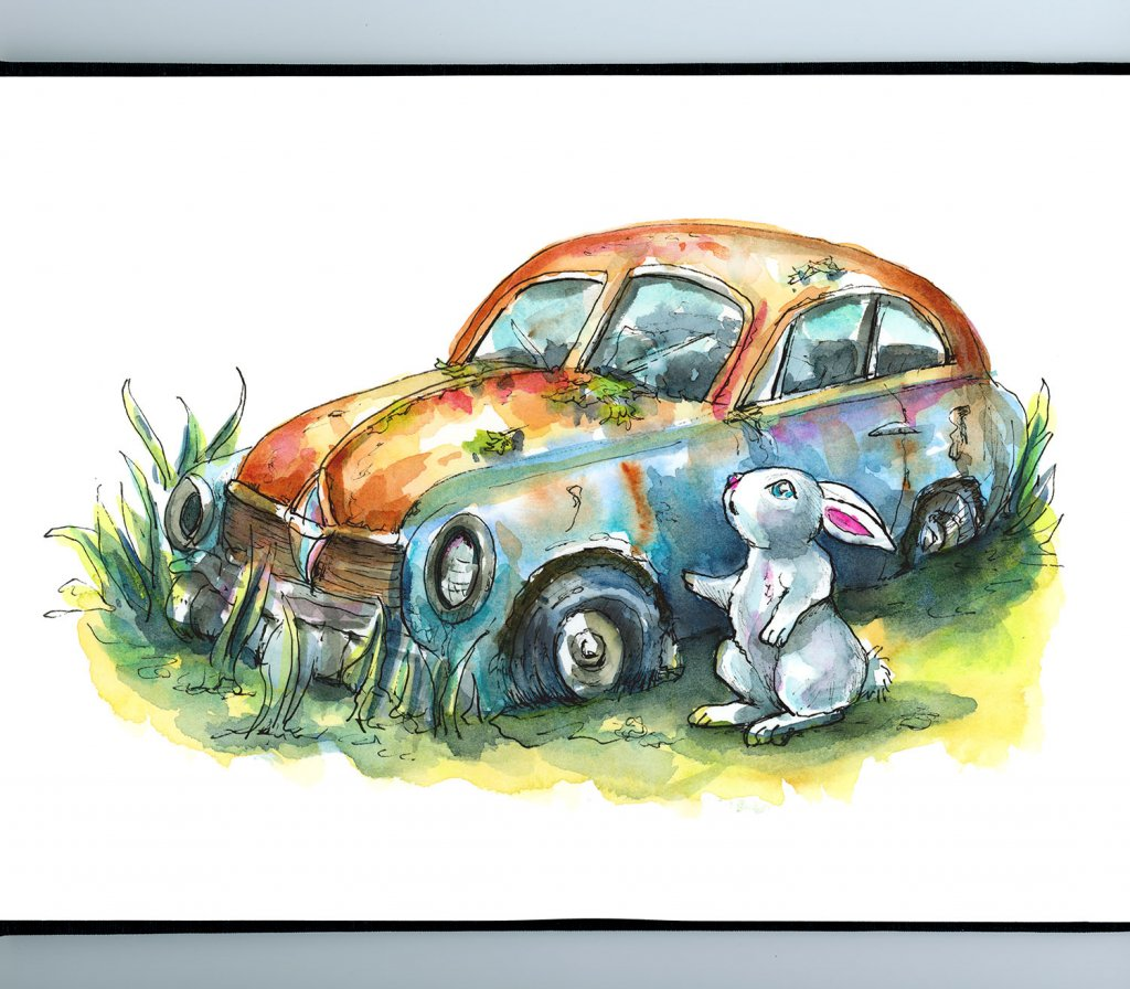 Abandoned Car Rusted Rabbit Bunny Watercolor Illustration Painting Sketchbook Detail