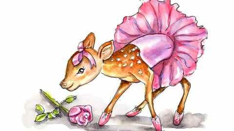Baby Deer Fawn Wearing Ballerina Tutu Watercolor Illustration Painting