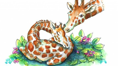 Baby Giraffe And Mother Bedtime Sleeping Watercolor Illustration Painting