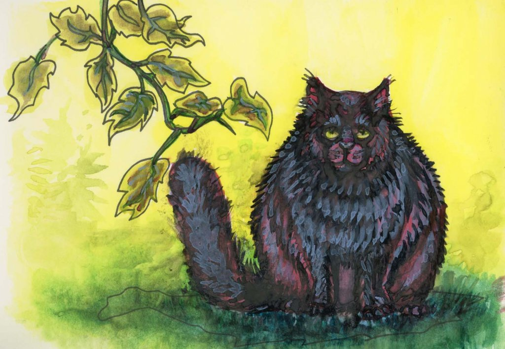 Adding the xamples done for my review of Gansai Tambi watercolors to my albums. Black Cat on a Hot G