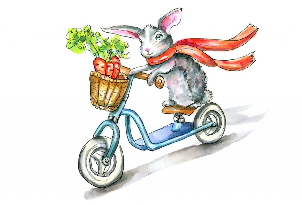 Bunny On A Bicycle Rabbit Bike Watercolor Illustration