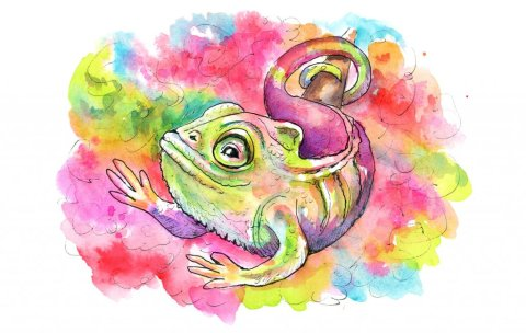 Chameleon Rainbow Colorful Camouflage Watercolor Illustration Painting