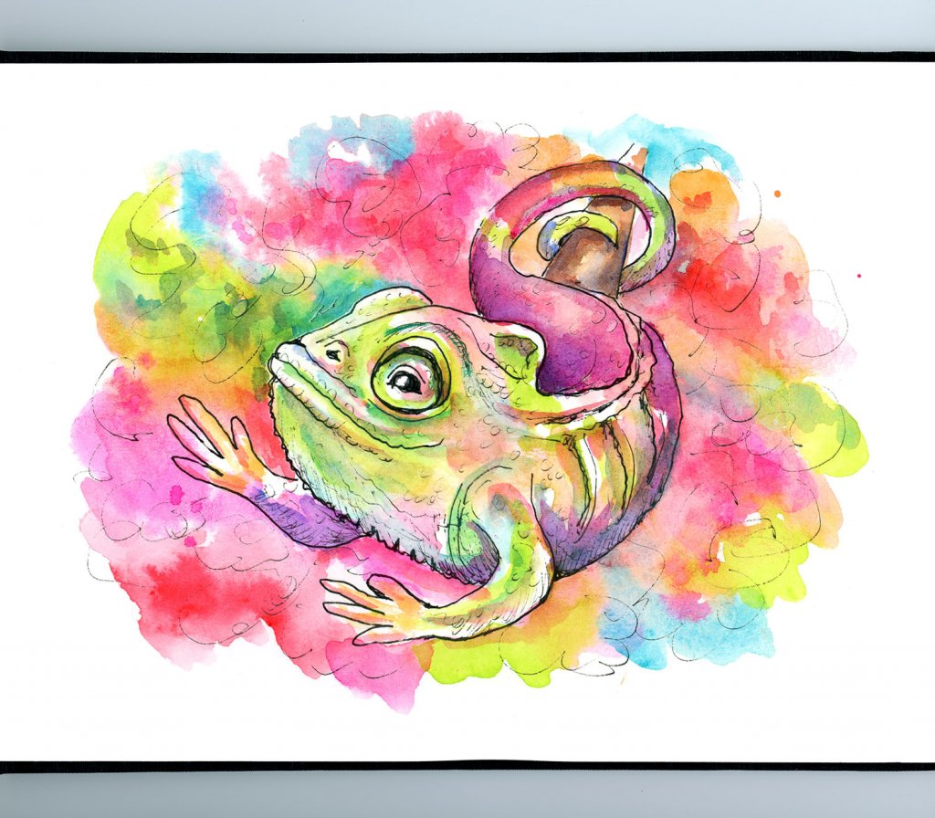 Chameleon Rainbow Colorful Camouflage Watercolor Illustration Painting Sketchbook Detail