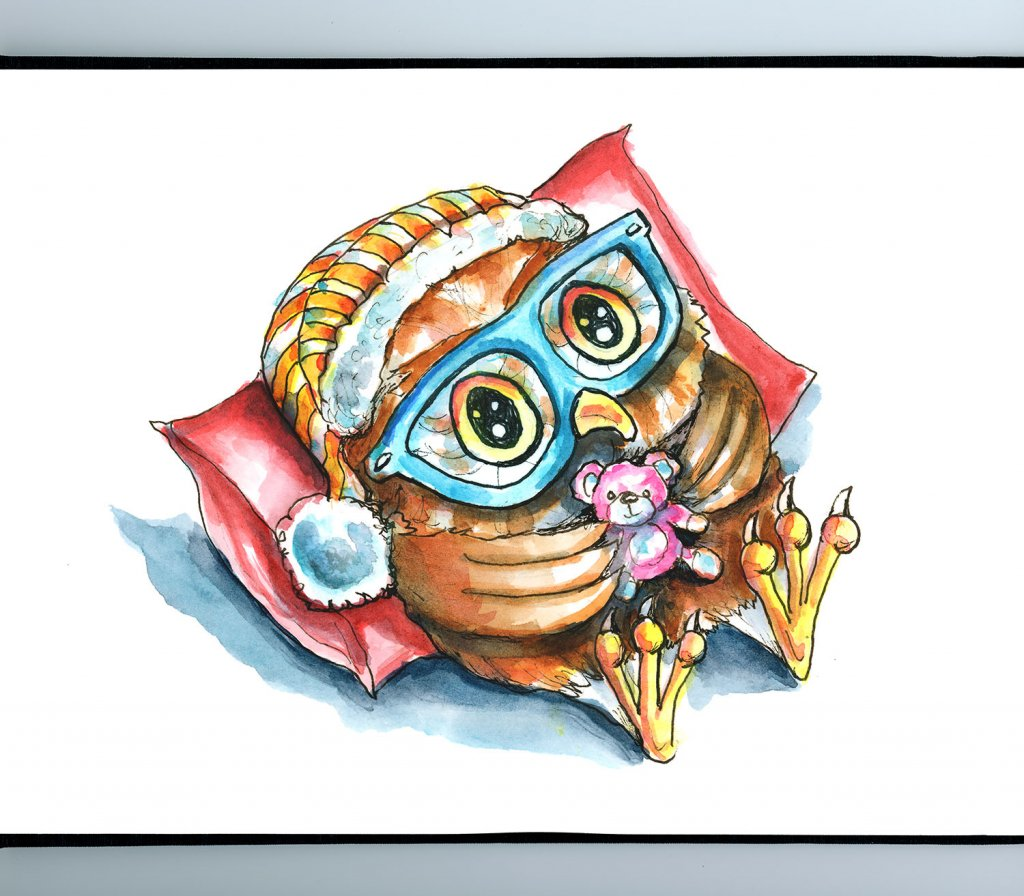 Cute Owl In Bed With Teddy Bear Watercolor Illustration Painting Sketchbook Detail