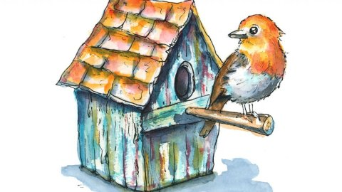 English Robin Blue Weathered Rustic Birdhouse Watercolor Illustration Painting