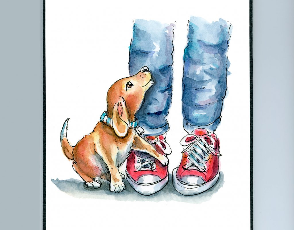 Faithful Dog Puppy Legs Jeans Red Sneakers Watercolor Illustration Painting Sketchbook Detail