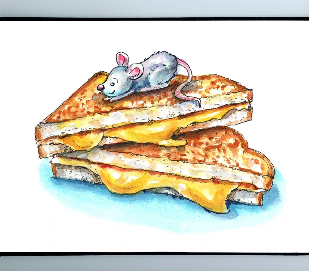 Grilled Cheese Sandwich And Mouse Watercolor Illustration Painting Sketchbook Detail