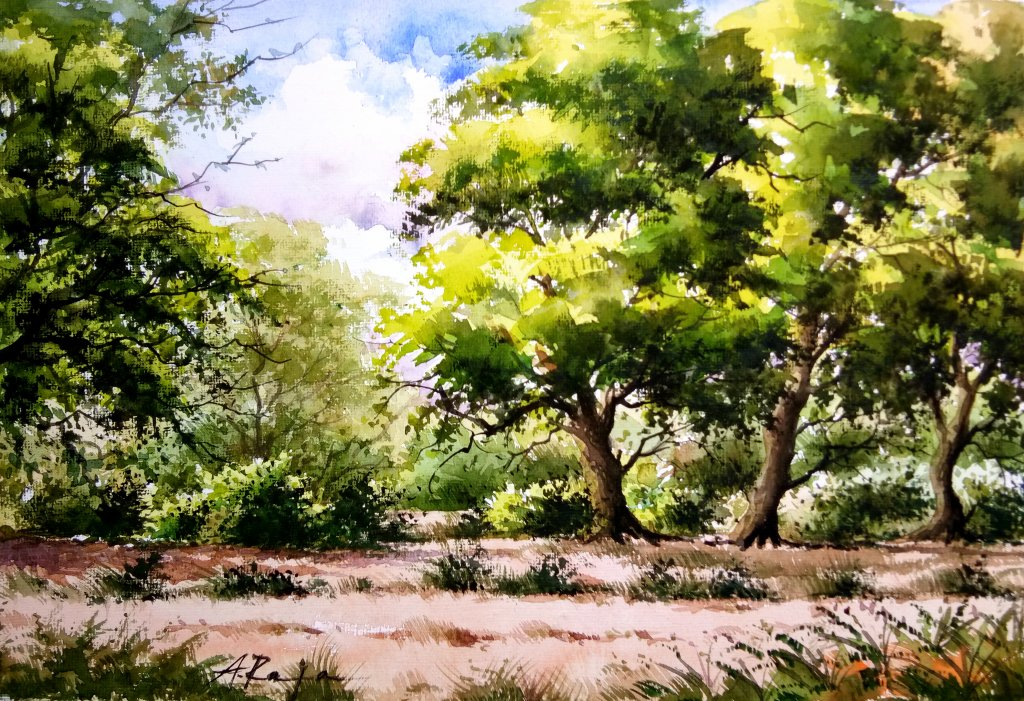 'Trees and environment ' – watercolor on handmade paper IMG_20210707_112918