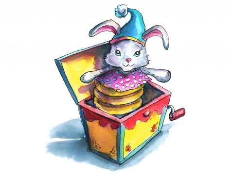 Jack In The Box Bunny Toy Watercolor Illustration Painting