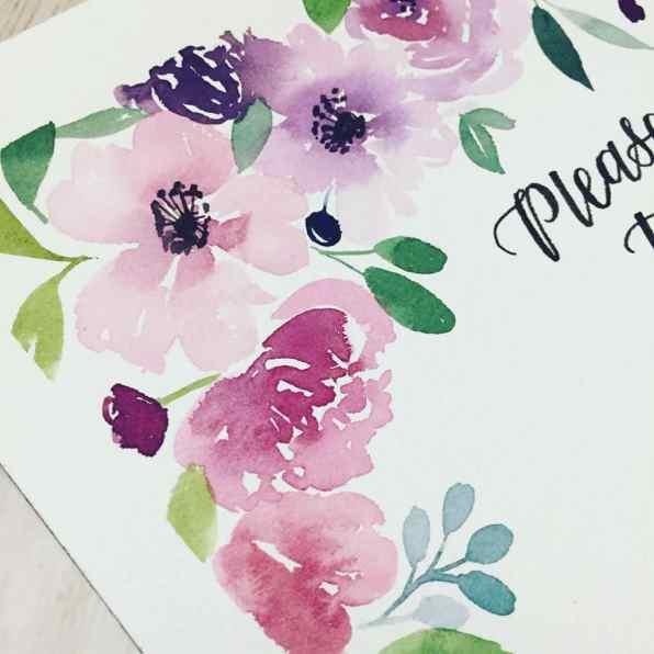 Pink Flowers watercolor painting by Leslie Tieu