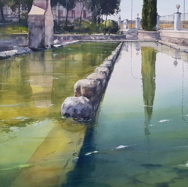 Pozoblanco Watercolor Painting by Pablo Ruben