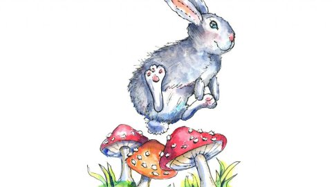 Rabbit Bunny Leaping Over Mushrooms Watercolor Illustration Painting
