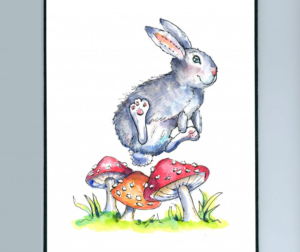 Rabbit Bunny Leaping Over Mushrooms Watercolor Illustration Painting Sketchbook Detail