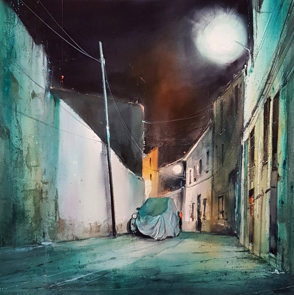 Street at Night Watercolour painting by Pablo Ruben