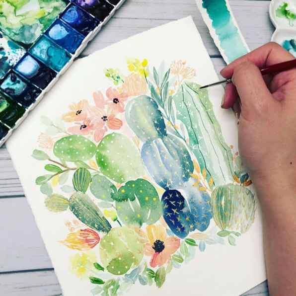 Watercolor Cactus by Leslie Tieu