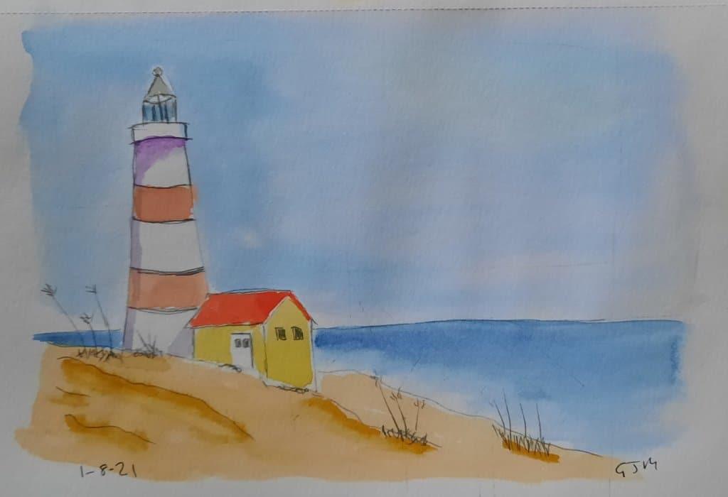 #doodlewashaugust2021 Day 3 Seaside. #worldwatercolorgroup 20210802_194056
