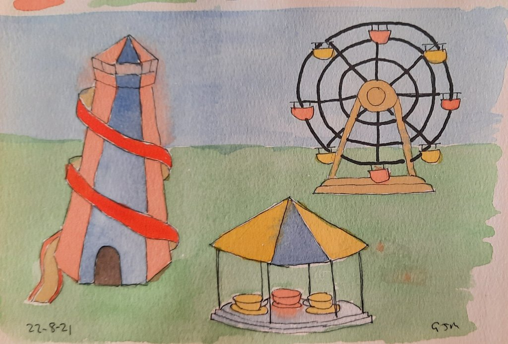 #doodlewashaugust2021 Day 24 Fairground. #worldwatercolorgroup 20210824_065618