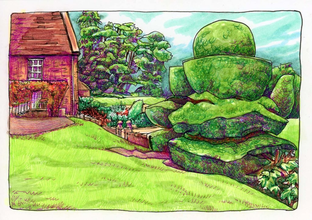 Crathes Castle Topiary. #DoodlewashAugust2021 prompt: Castle. Did you know that topiary can be trace