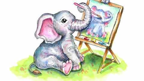 Cute Baby Elephant Painting Self Portrait Watercolor Illustration