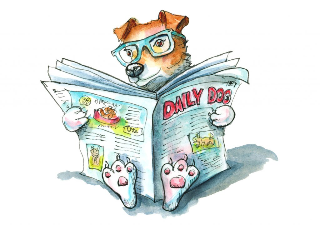 Dog Reading Newspaper Wearing Glasses Watercolor Illustration Painting