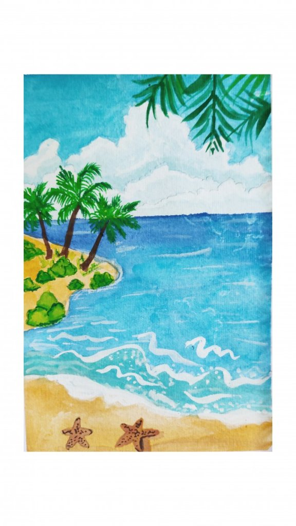Day3: seaside. I love beaches and tried to create this illustrative style beach painting. Enjoyed th