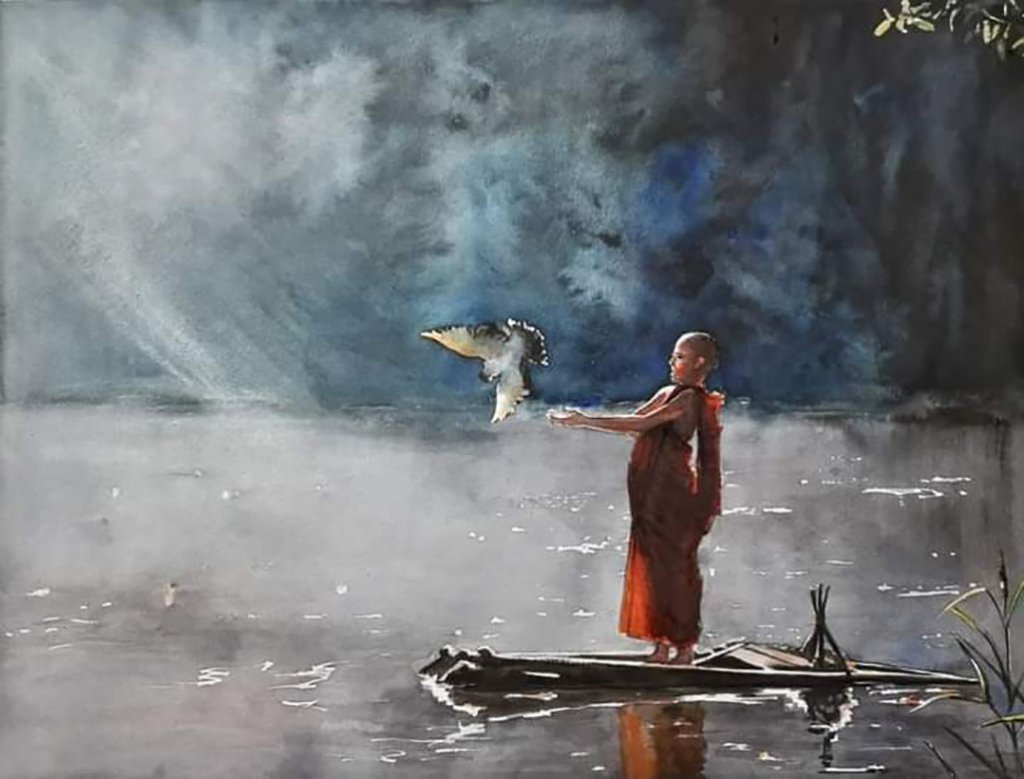 Man and Bird Watercolor Painting