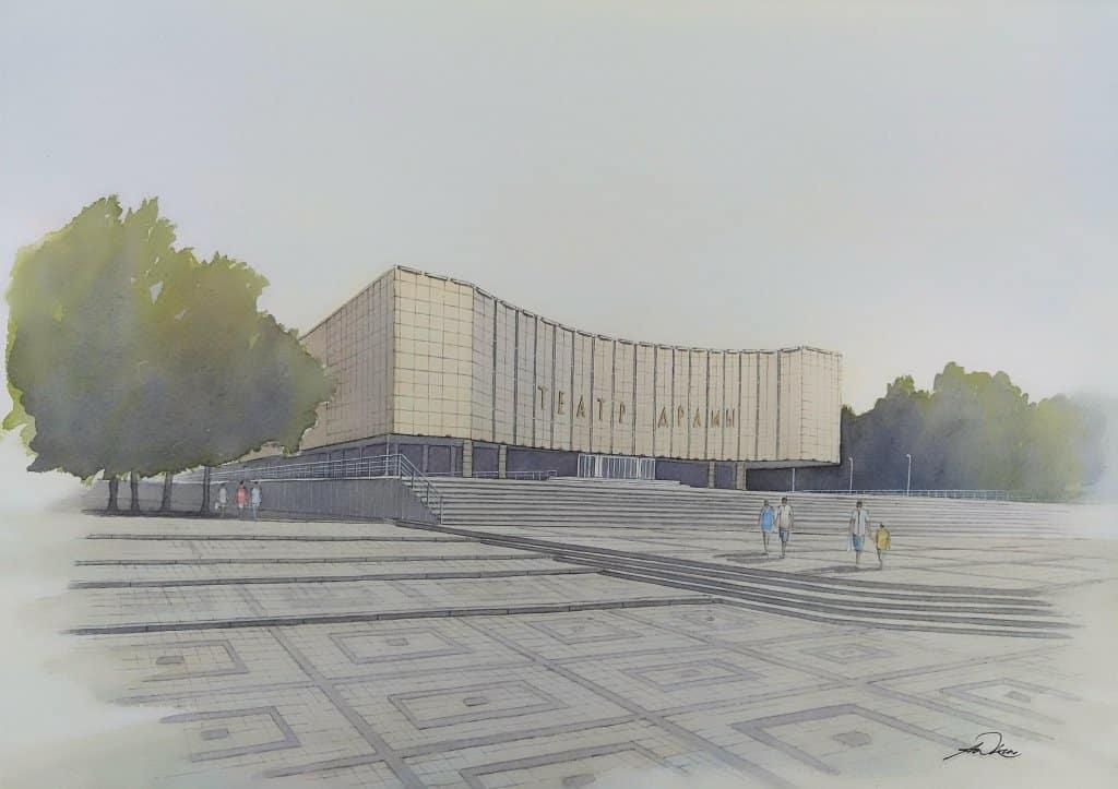 """ The Drama Theatre "", Krasnodar, Russia. Andrew Lucas Watercolour, 25 x 35 cm, I hope y"