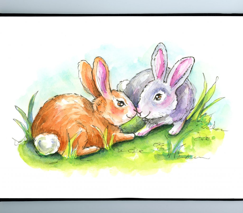 Two Rabbits Bunnies Touching Noses Watercolor Illustration Sketchbook Detail