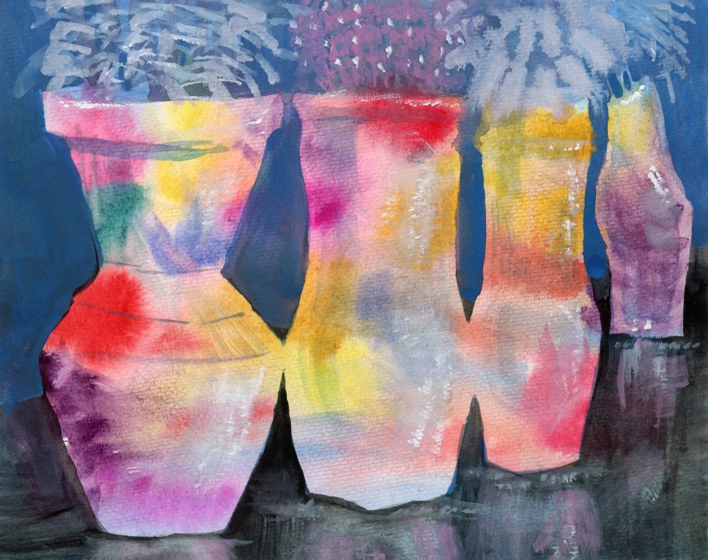 Vases on a Black Table #DoodlewashAugust2021 prompt: Vase. Did you know that the Egyptians are belie