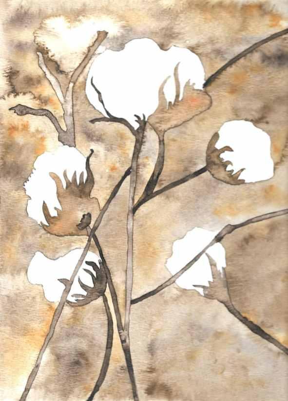 Watercolor cotton bouquet painting