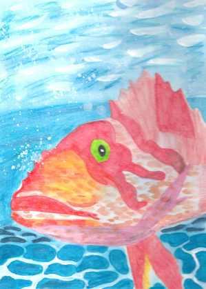 watercolor pink deep sea fish