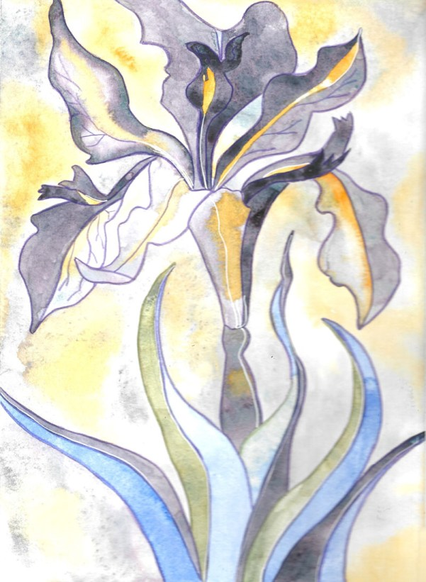 Watercolor purple and yellow iris