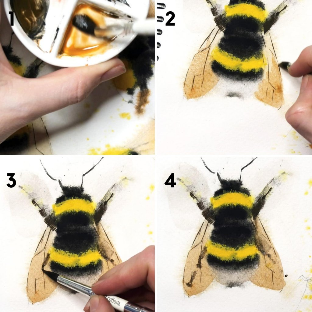 painting bees in gouache final touches
