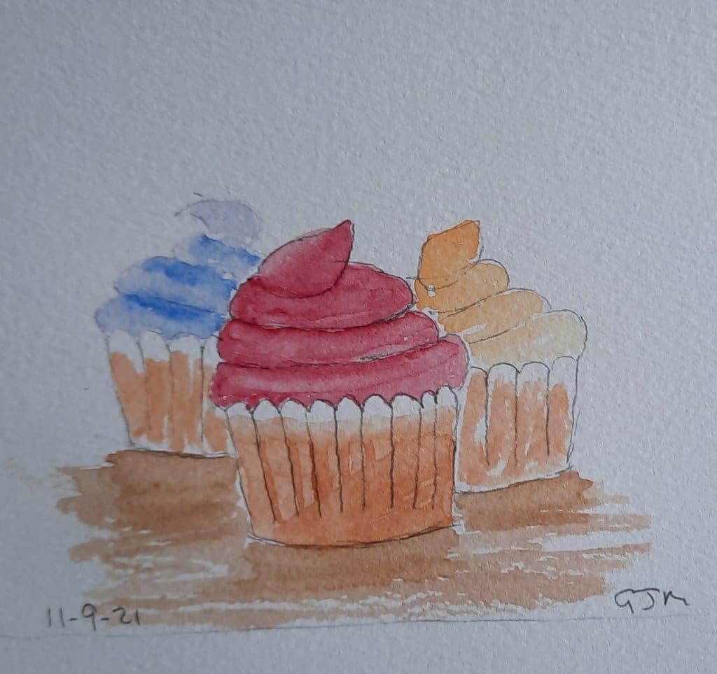 #doodlewashseptember2021 Day 11 Cupcake. #worldwatercolorgroup 20210911_103020