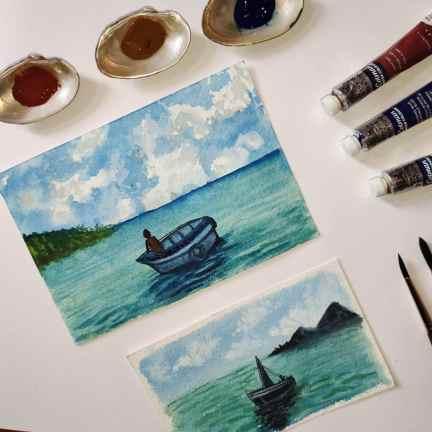 Boats on Water Watercolor by Hridaya Keerthana