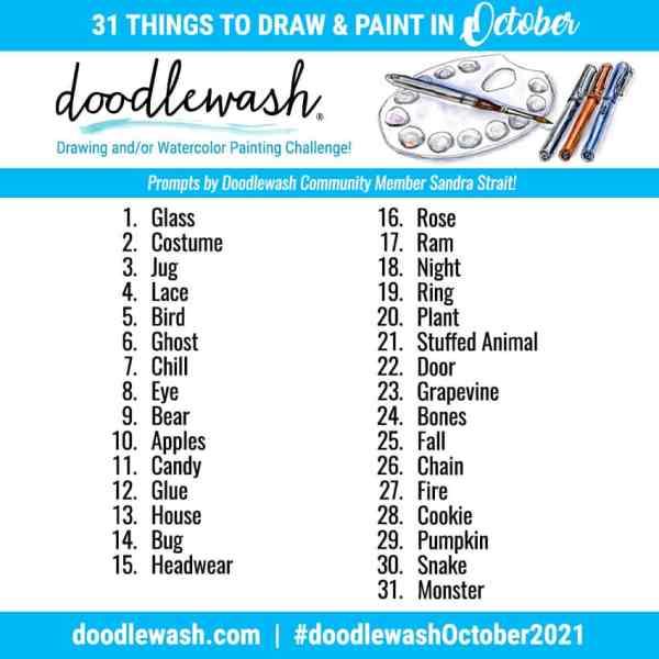 Doodlewash October 2021 Art Drawing Watercolor Challenge Prompts