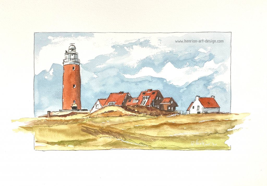 Eierlan Lighthouse in the Netherlands. Pen and watercolor on Canson Heritage paper, size 35 x 25 cm.