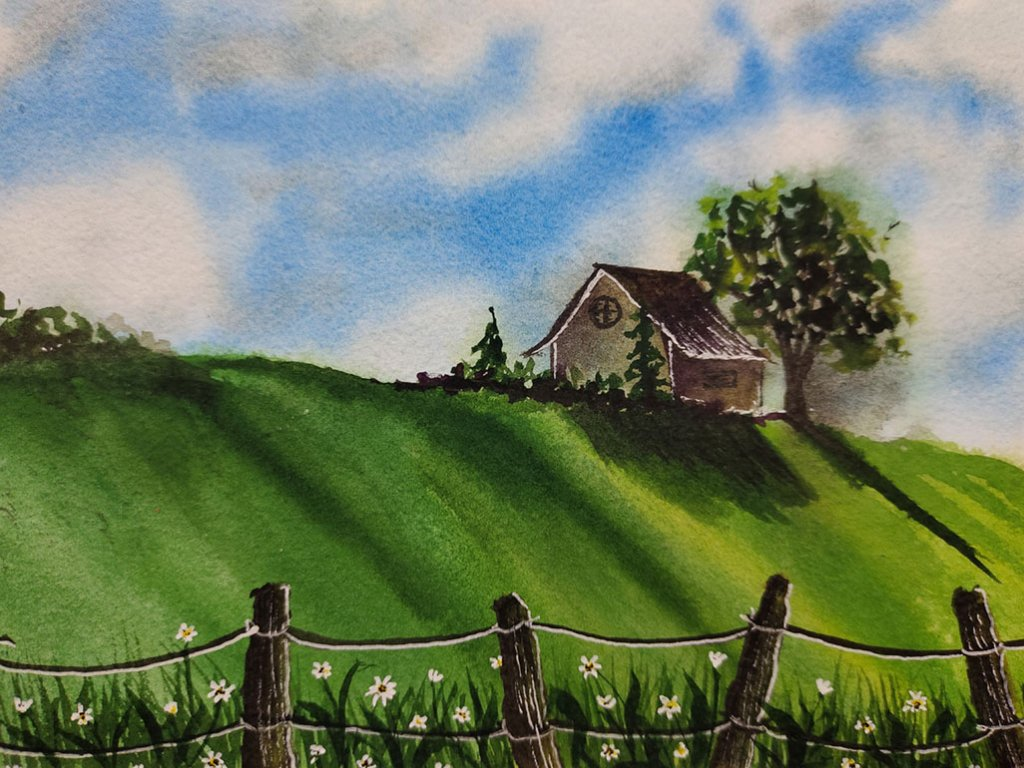 House On A Hill Watercolor Painting by Hridaya Keerthana