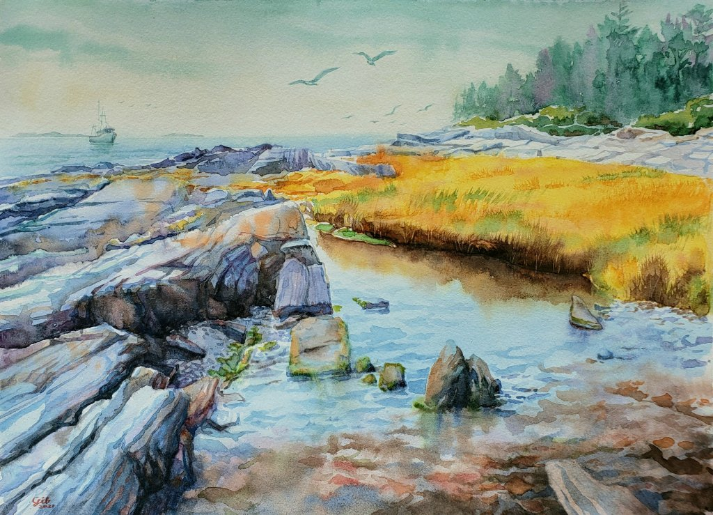 Orr's Island, Maine. The shoreline with stone formations always fascinated me. Video: https://