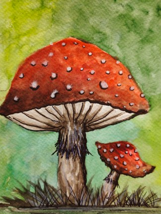 Red Fly Agaric Mushroom Watercolor Painting