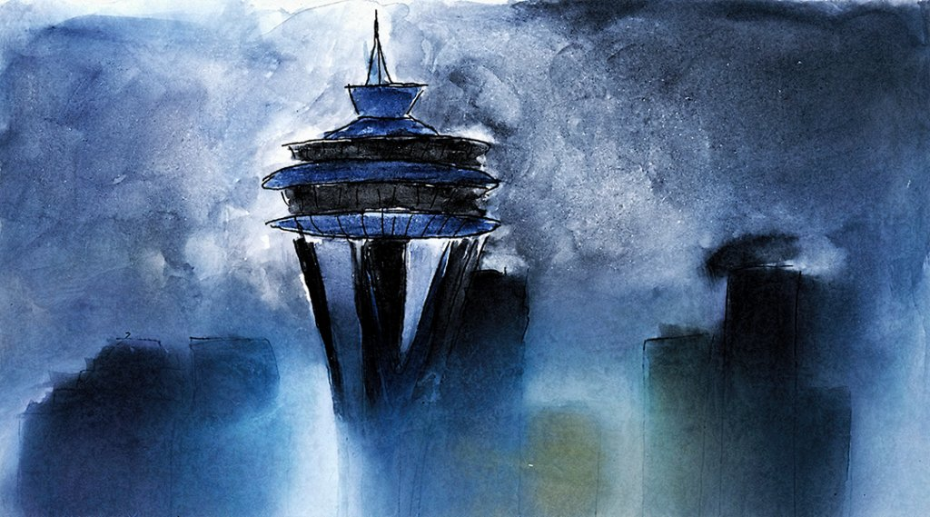 Space Needle Gouache & Gesso. My first attempt to incorporate both Gouache and Gesso with waterc