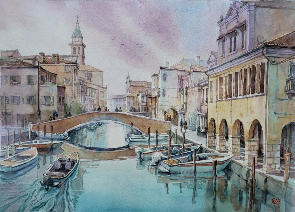 Venice Canal – Architecture type watercolor style. Perspective, horizontal line, lighting, sha