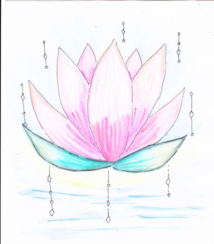 Lotus, a drawing meditation, caran d'ache neocolorII,taken from the crayons with a brush and s