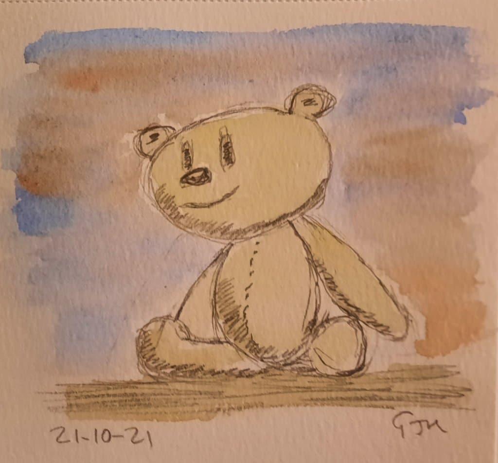#doodlewashoctober2021 Day 21 Stuffed Animal. #worldwatercolorgroup 20211021_190626