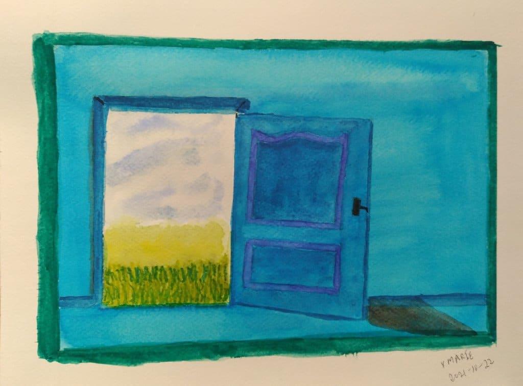 2021-10-22 Prompt 22 Door. #doodlewashOctober2021 #WorldWatercolorGroup #AquarelleCanadaWatercolour