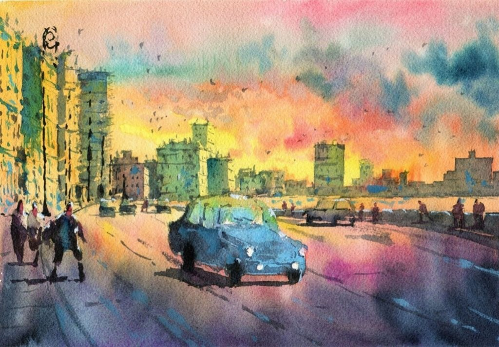 Sunset and car watercolour painting by Darren Yeo